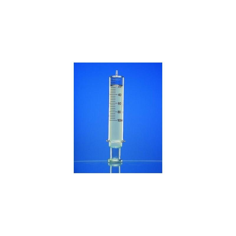 All glass syringe 2 ml: 0,1 glass tip Luer amber graduated