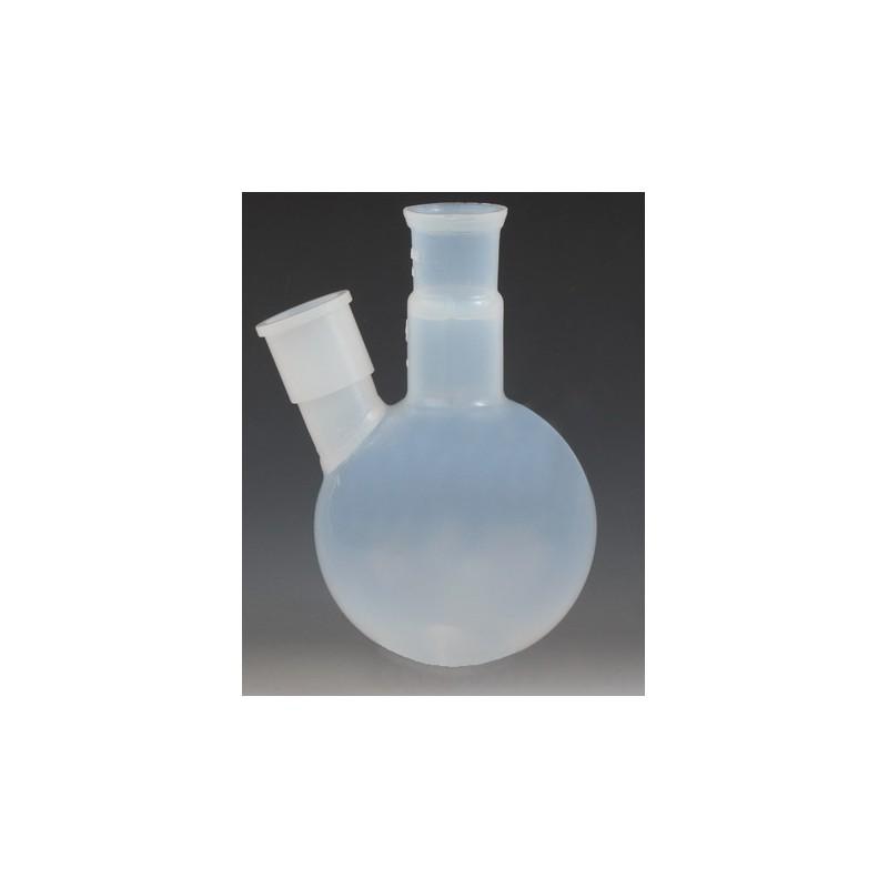 Two ground joint neck round bottom flask 500 ml PFA