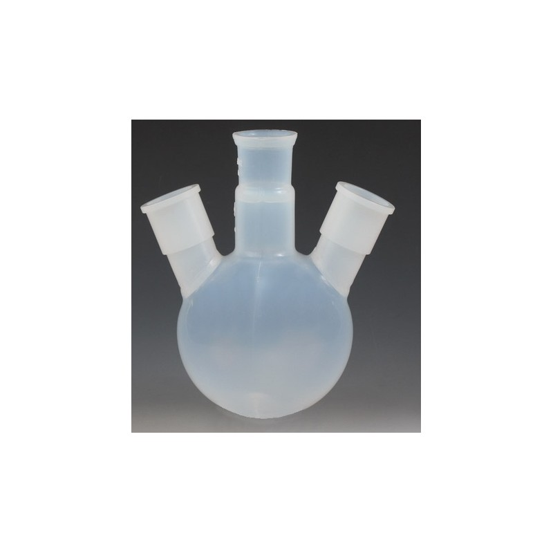 Three ground joint neck round bottom flask 100 ml PFA