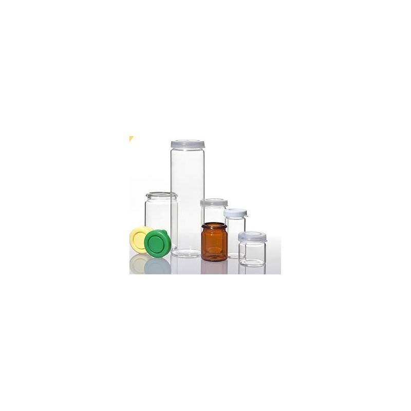 Rolled rim bottle 5 ml 24x24x1 mm clear glass WBK 3 snap-on lid