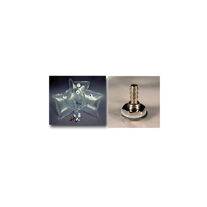 Gas sample bag 2L Tedlar clear 23x23 cm nickel plated brass