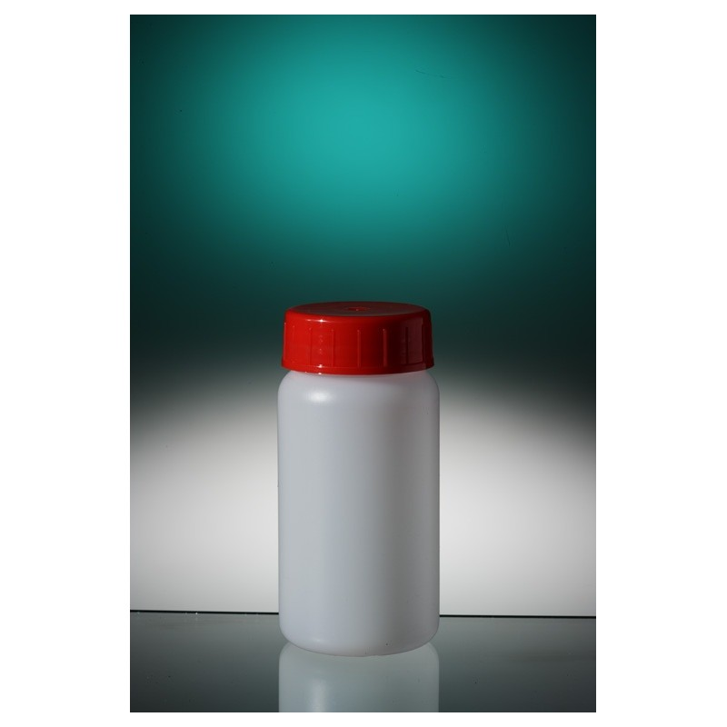 Round bottle narrow neck PE-HD 50 ml screw cap with wad aseptic