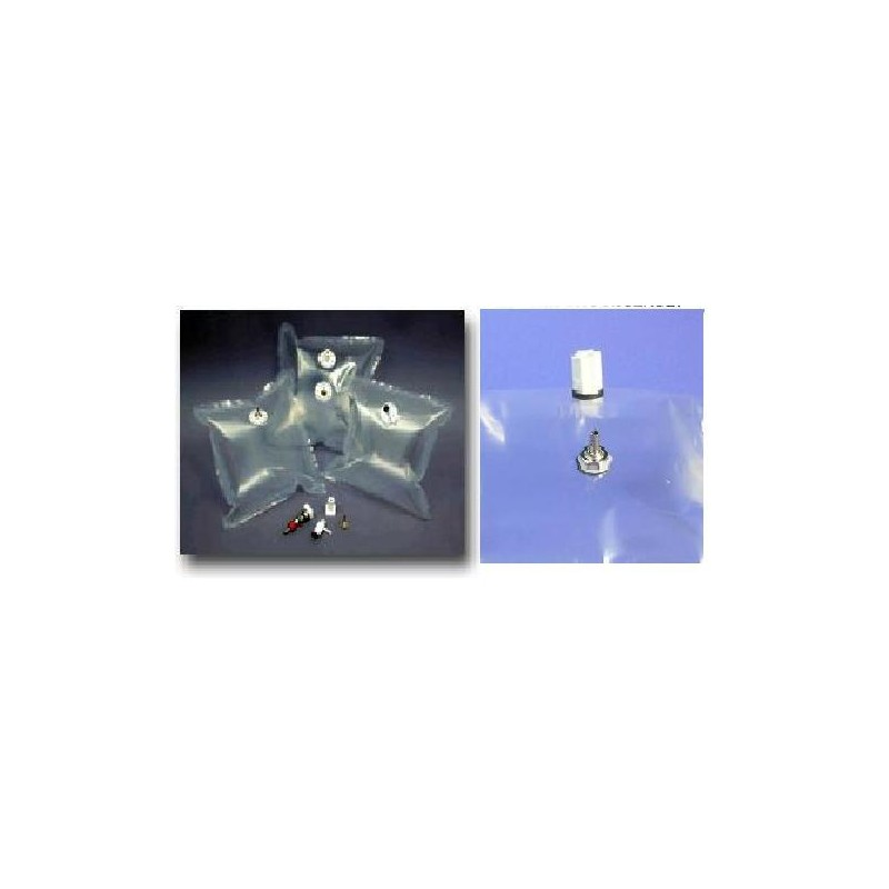 Gas sample bag 0.5L Tedlar clear 15x15 cm nickel-brass valve +