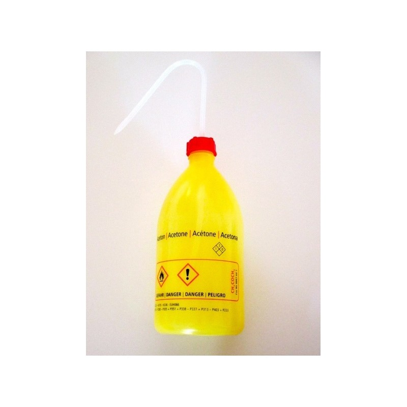"""Safety was bottle """"Aceton"""" 500 ml PE-LD narrow mouth yellow red"""
