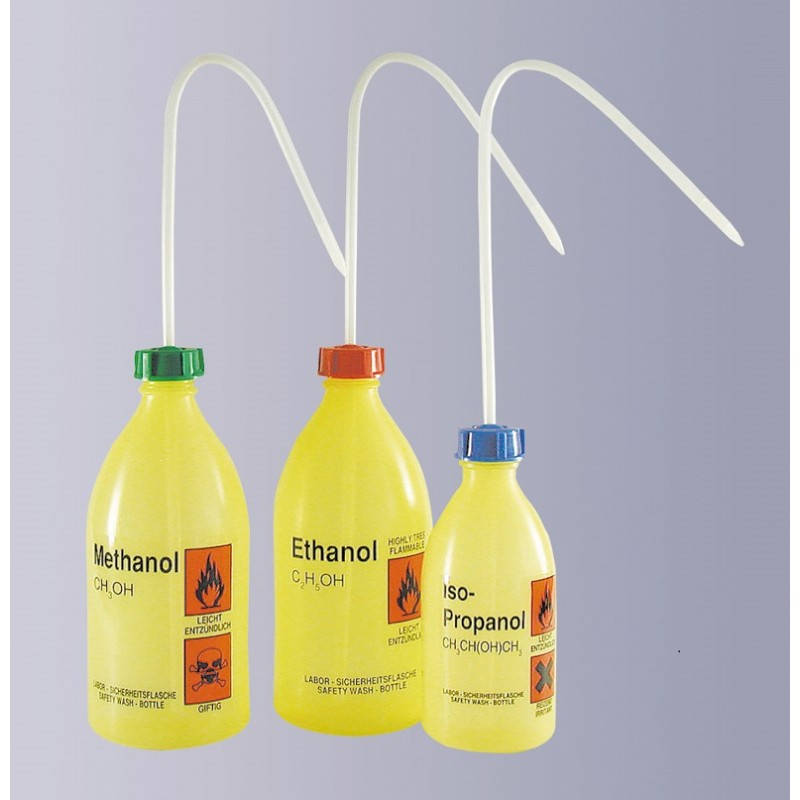 """Safety was bottle """"Methanol"""" 500 ml PE-LD narrow mouth yellow"""