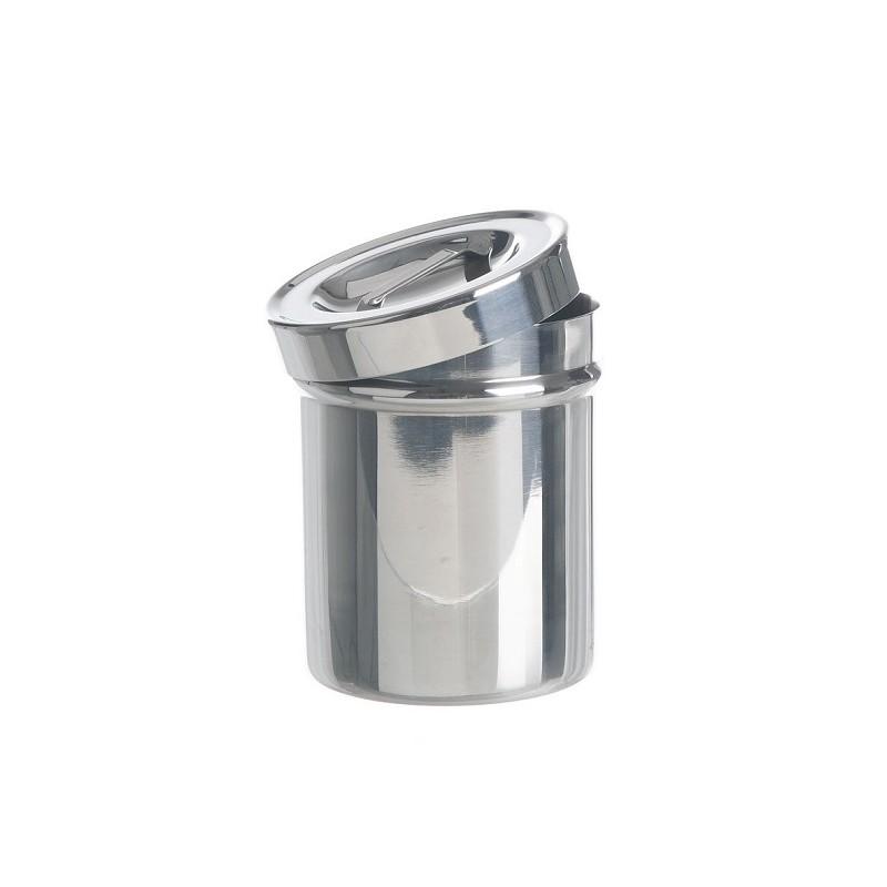 Büchse mit Griffdeckel 18/10 Stahl stapelbar Ø 180x180 mm