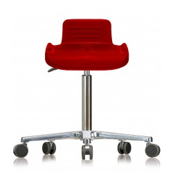 Rotary stool with castors WS4220 Classic seat with Soft-PU red