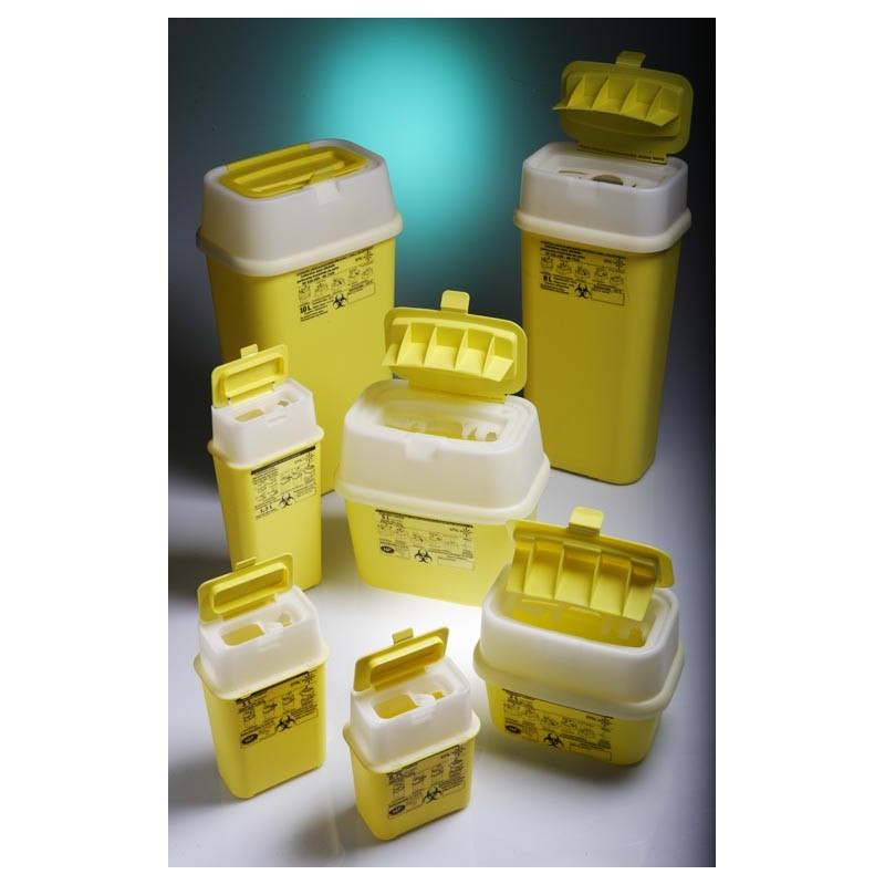 Waste and sharp container with hinged cap PP 3L yellow