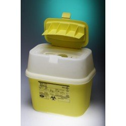 Waste and sharp container with hinged cap PP 5L yellow