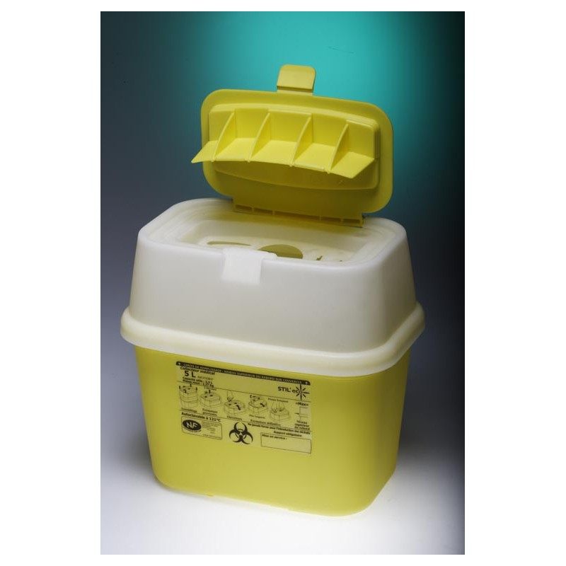 Entsorgungsbehälter mit aufklappbarem Deckel PP 5L gelb