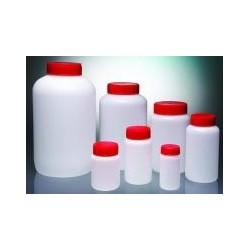Round bottle PEHD 250 ml wide neck screw cap Ø37 red pack 145
