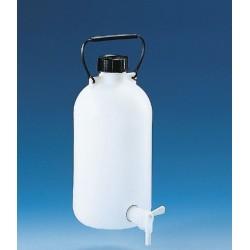 Abklärflasche PE-HD Enghals 5 l mit Hahn Schraubkappe Tragegriff