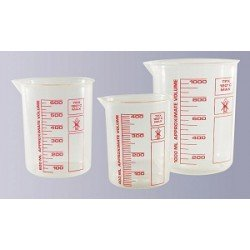 Griffin beaker 1000 ml highly transparent printed red scale
