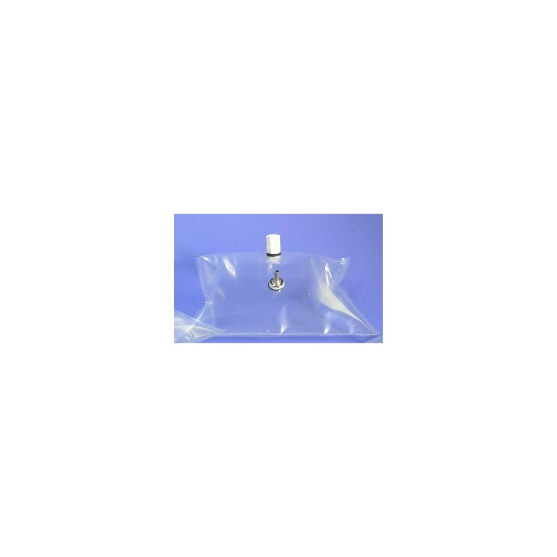 Gas sample bag 2L Tedlar clear 23x23 cm nickel-brass valve + PP