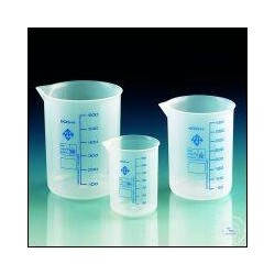 Griffinbecher 500:100 ml PP Teilung blau Ausguss