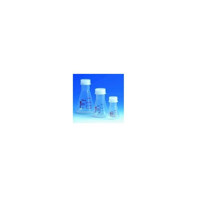 Erlenmeyerkolben 100 ml PMP glasklar Schraubkappe PP GL40 VE 6