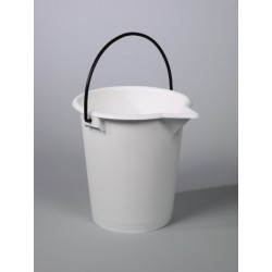 Bucket PE 15 L white graduation 1 L spout metal handle