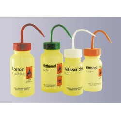 "Safety was bottle ""Wasser dest."" 500 ml PE-LD wide mouth yellow"