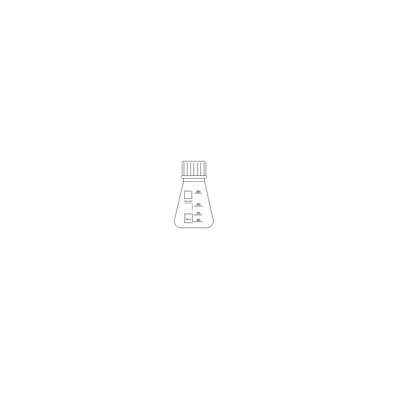 Erlenmeyerkolben 1000 ml Boro 3.3 braun Schraubkappe GL32 rot