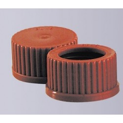 Screw cap GL45 PBT red with seal temperature resistance 180°C