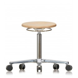 Rotary stool with castors WS3020 Classic seat with wooden