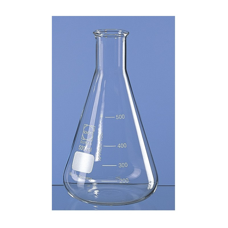 Erlenmeyer flask 100 ml Duran narrow mouth beaded rim graduation
