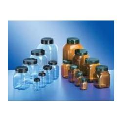Pojemnik czworokątny szerokoszyjny PVC 1000mL brązowy bez