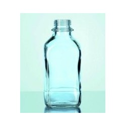 Square bottle 250 ml soda-lime narrow neck clear glass GL 32