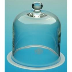 Glasglocke mit Knopf und Flansch Ø 180 Höhe 300 mm