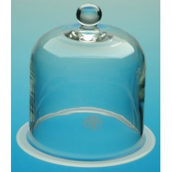 Glasglocke mit Knopf und Flansch Ø 200 Höhe 350 mm