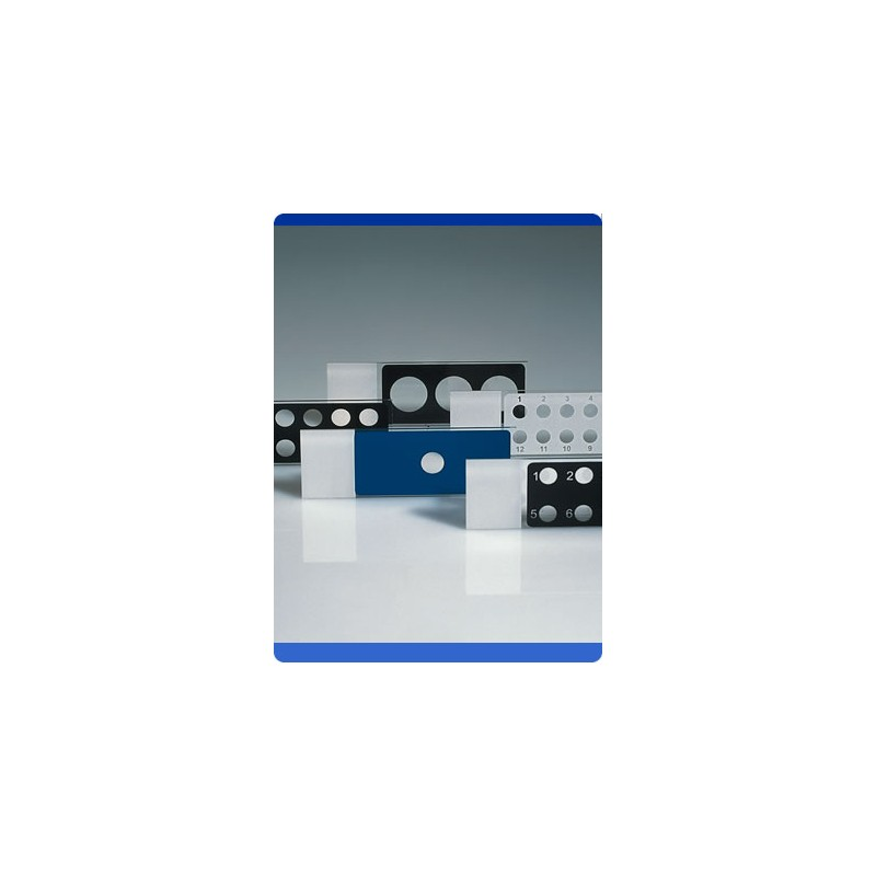 Diagnostic Slides 75x25x1 mm glass PTFE-coating black 10 wells