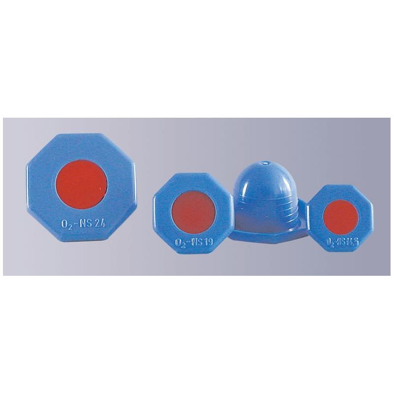 Octagonal stopper PE-HD blue around for oxygen bottles NS24