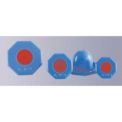 Achtkant-Deckelstopfen PE-HD blau rund für Sauerstoff-Flaschen