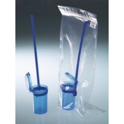 Dipper with removable handle blue PP 90 ml hinged cap sterile