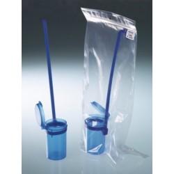 Pojemnik czerpakowy niebieski PP 90 ml z pokrywką z zatrzaskiem
