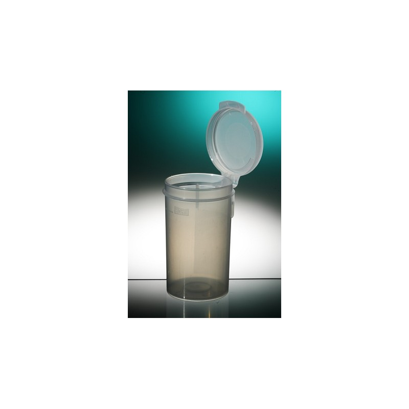 Straight container PP 90 ml hinged cap natural pack 350