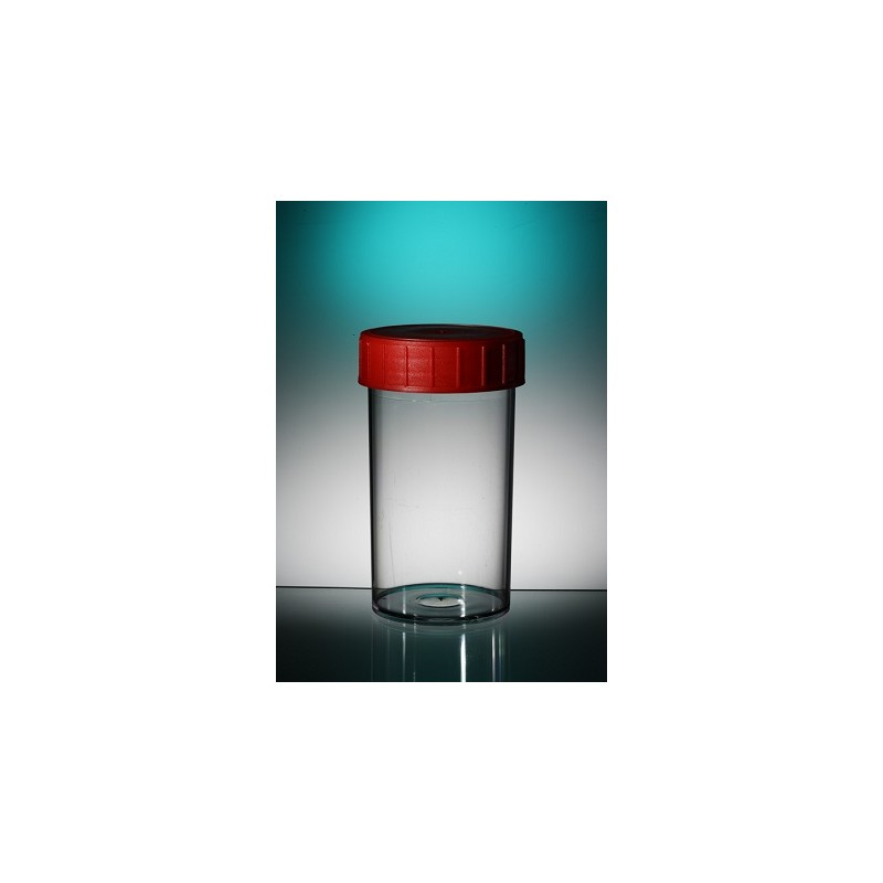Straight container PP 180 ml red screw cap unsterile pack 264