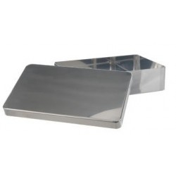 Instruments tray with lid without handle stockable 18/10 steel