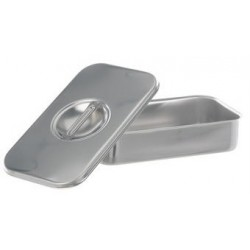 Instruments tray with lid with handle stockable 18/10 steel