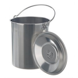 Container 1 Liter with lid and handle Stainless steel 18/8 HxØ