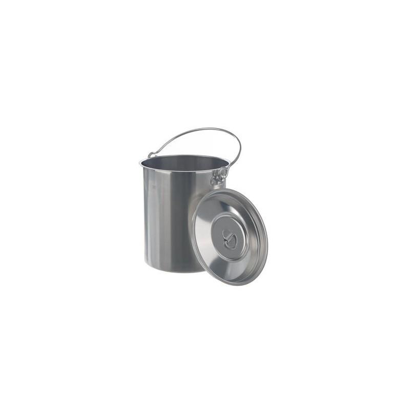 Transportbehälter 5 Liter mit Deckel und Henkel 18/8-Stahl HxØ