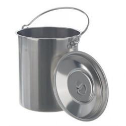 Transportbehälter 10 Liter mit Deckel und Henkel 18/8-Stahl HxØ
