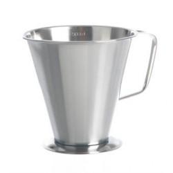 Messbecher 500:100 ml Edelstahl konische Form Griff Standfuß