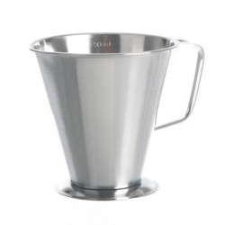 Messbecher 2000:100 ml Edelstahl konische Form Griff Standfuß