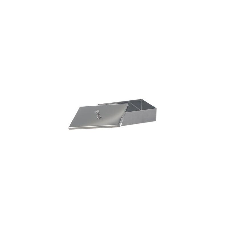 Instruments tray with lid with knob 18/10 steel WxDxH 220x150x50