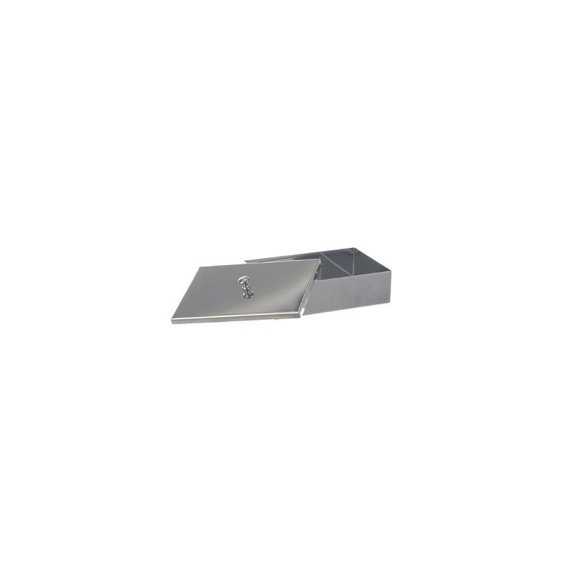 Instruments tray with lid with knob 18/10 steel WxDxH 280x180x60