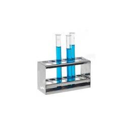 Reagenzglasständer 18/10 Stahl Öffnungen 2 x 6 Ø 20 mm