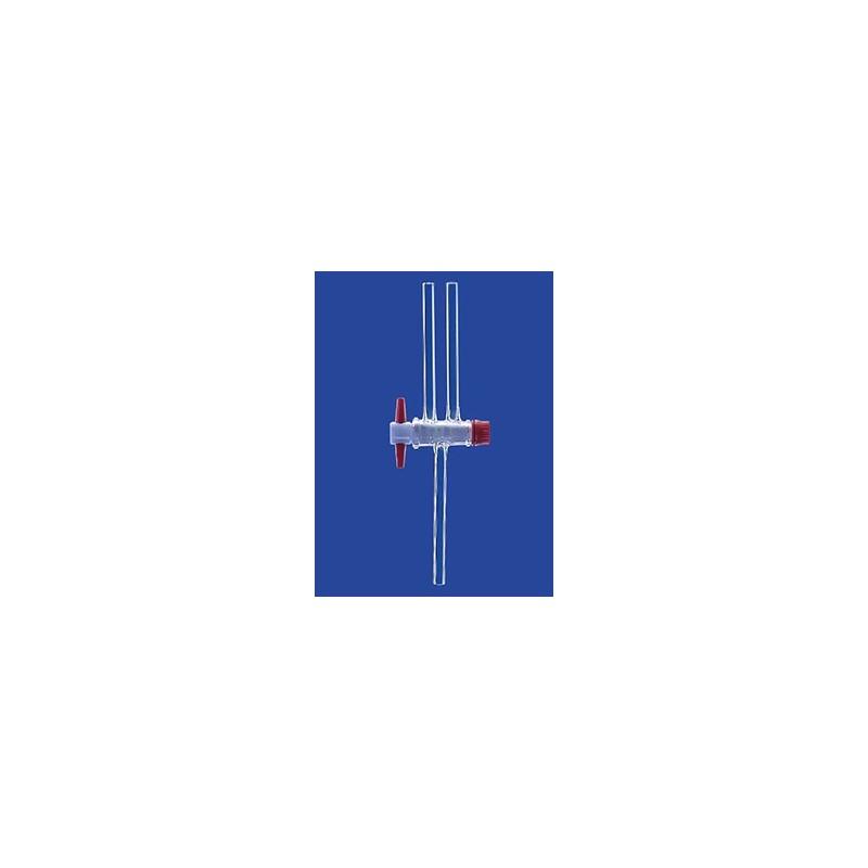 Dwudrożny zawór kulowy kranik PTFE NS14,5 otwór 2,5 mm