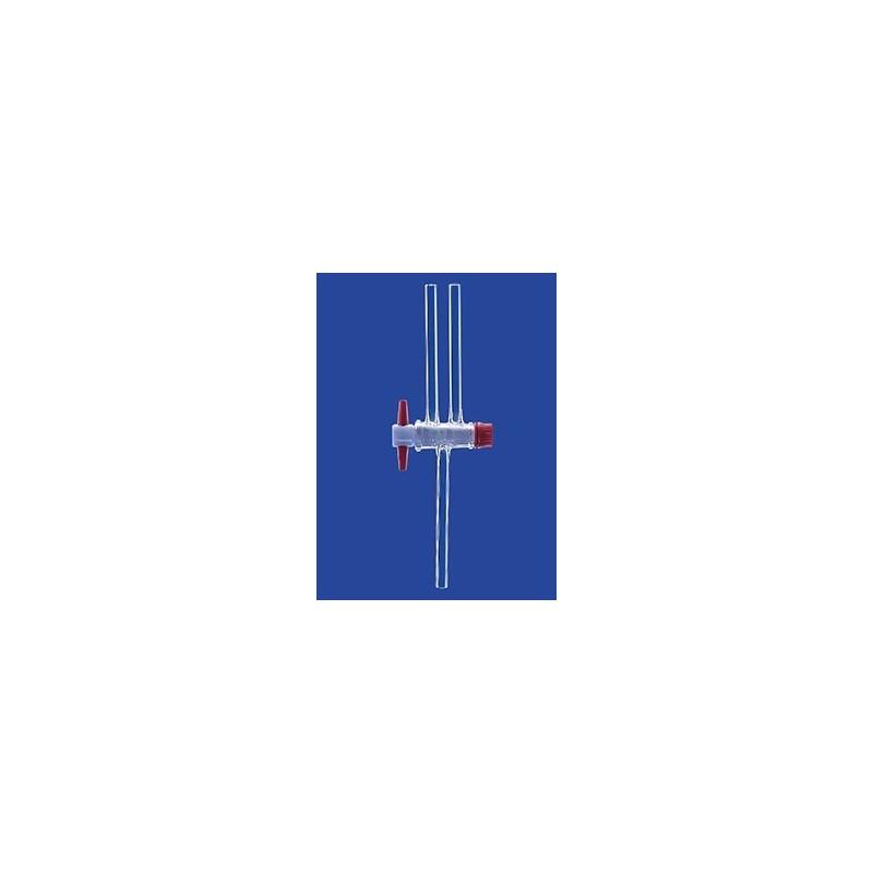 Zweiweg-Kegelhahn mit PTFE-Küken Duran NS18,8 Bohrung 4 mm