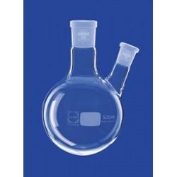 Kolba okręgłodenna 2-szyjna 200 ml szyja boczna skośna Duran